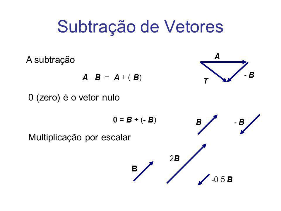 Subtração de Vetores 0 (zero) é o vetor nulo 0 = B + (- B) A - B = A + (-B) A subtração A B - B T B 2B2B -0.5 B Multiplicação por escalar