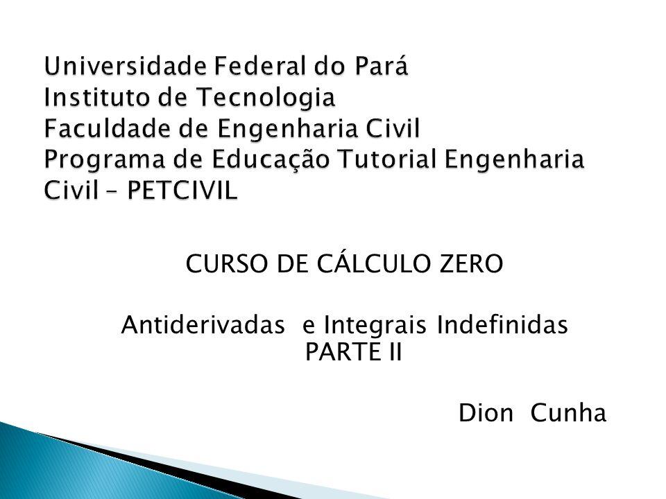 CURSO DE CÁLCULO ZERO Antiderivadas e Integrais Indefinidas PARTE II Dion Cunha