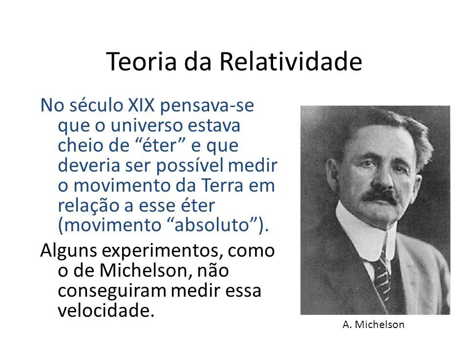 Teoria da Relatividade No século XIX pensava-se que o universo estava cheio de éter e que deveria ser possível medir o movimento da Terra em relação a