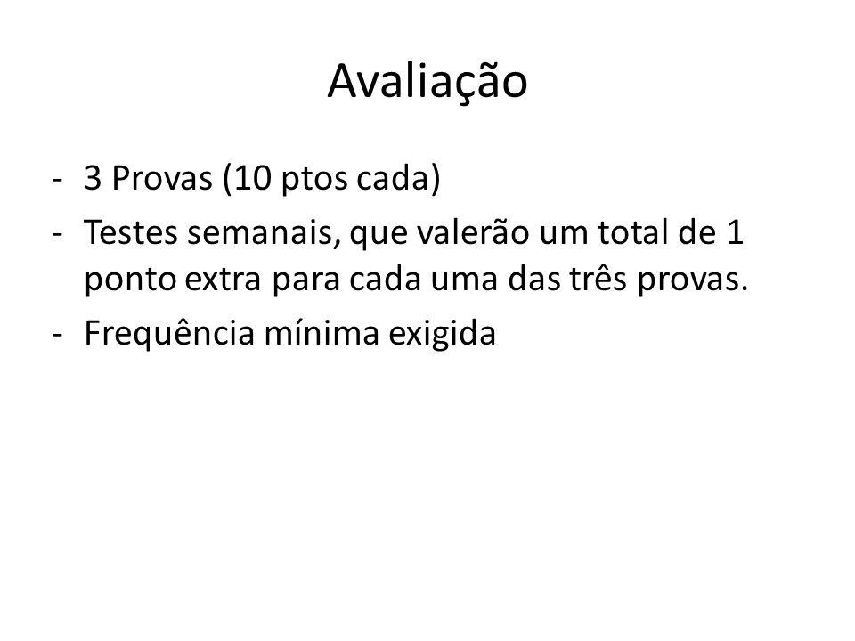 Avaliação -3 Provas (10 ptos cada) -Testes semanais, que valerão um total de 1 ponto extra para cada uma das três provas. -Frequência mínima exigida