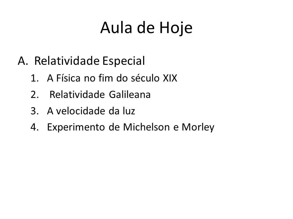 Aula de Hoje A.Relatividade Especial 1.A Física no fim do século XIX 2. Relatividade Galileana 3.A velocidade da luz 4.Experimento de Michelson e Morl