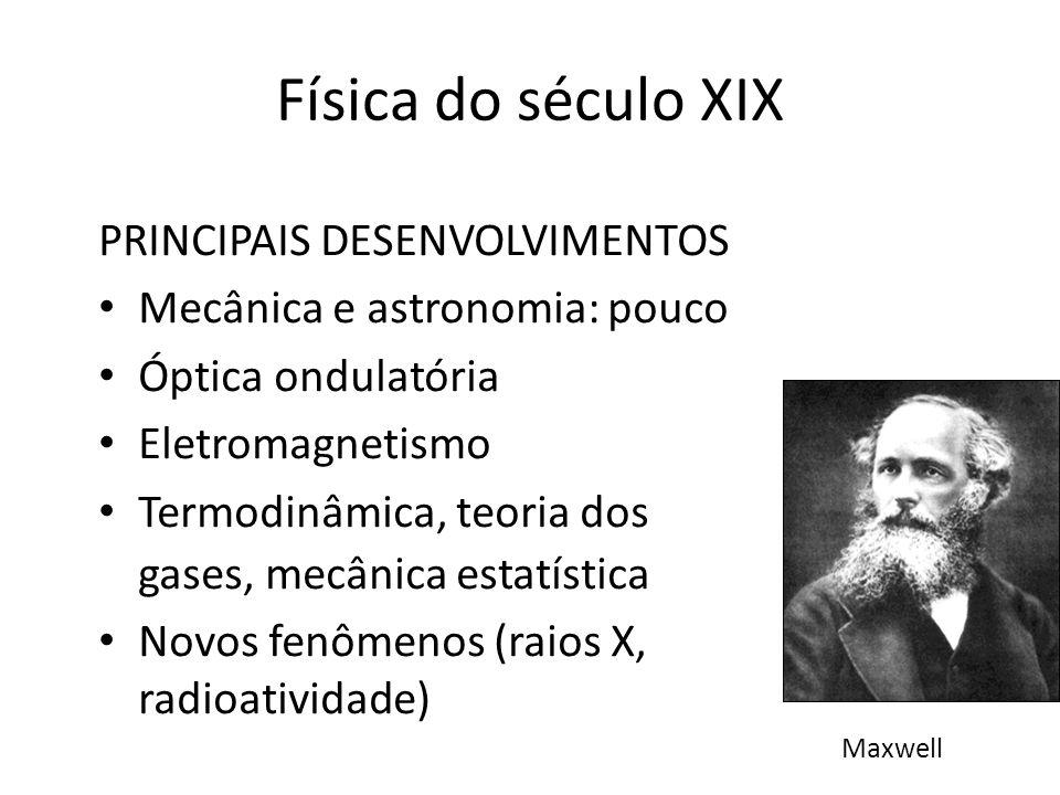 PRINCIPAIS DESENVOLVIMENTOS Mecânica e astronomia: pouco Óptica ondulatória Eletromagnetismo Termodinâmica, teoria dos gases, mecânica estatística Nov