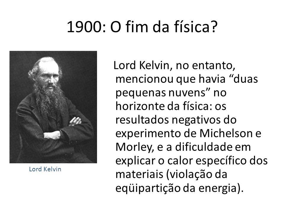 Lord Kelvin, no entanto, mencionou que havia duas pequenas nuvens no horizonte da física: os resultados negativos do experimento de Michelson e Morley