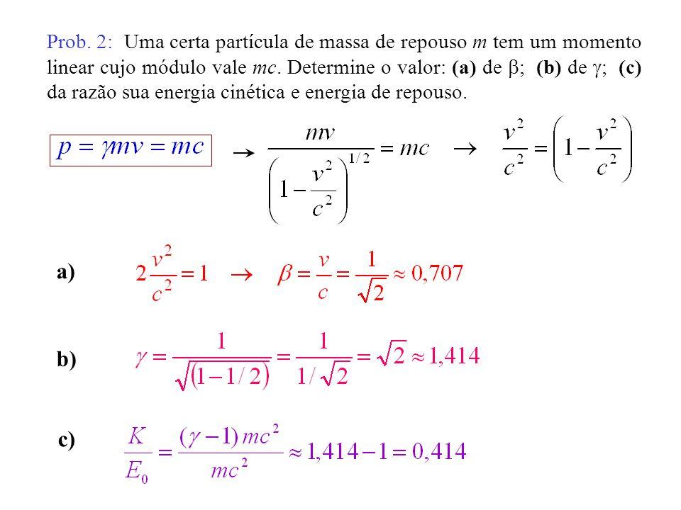 Prob. 2: Uma certa partícula de massa de repouso m tem um momento linear cujo módulo vale mc. Determine o valor: (a) de ; (b) de ; (c) da razão sua en