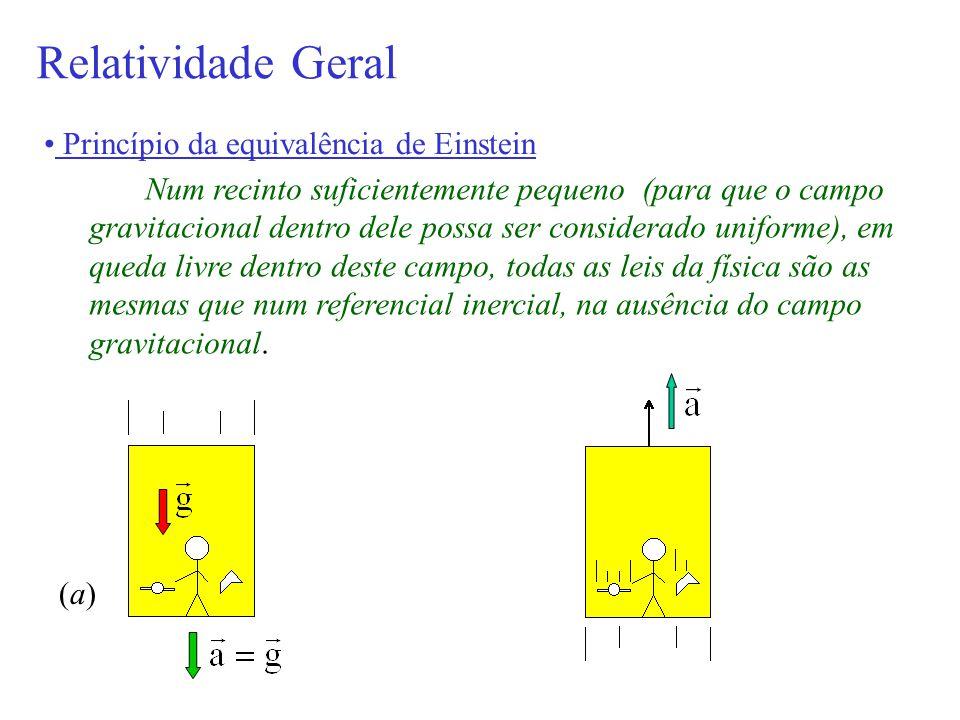 Relatividade Geral Princípio da equivalência de Einstein Num recinto suficientemente pequeno (para que o campo gravitacional dentro dele possa ser con