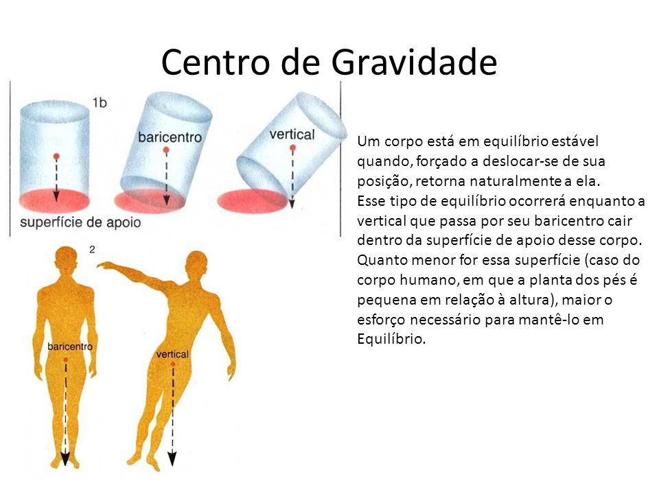 Centro de Gravidade Um corpo está em equilíbrio estável quando, forçado a deslocar-se de sua posição, retorna naturalmente a ela.