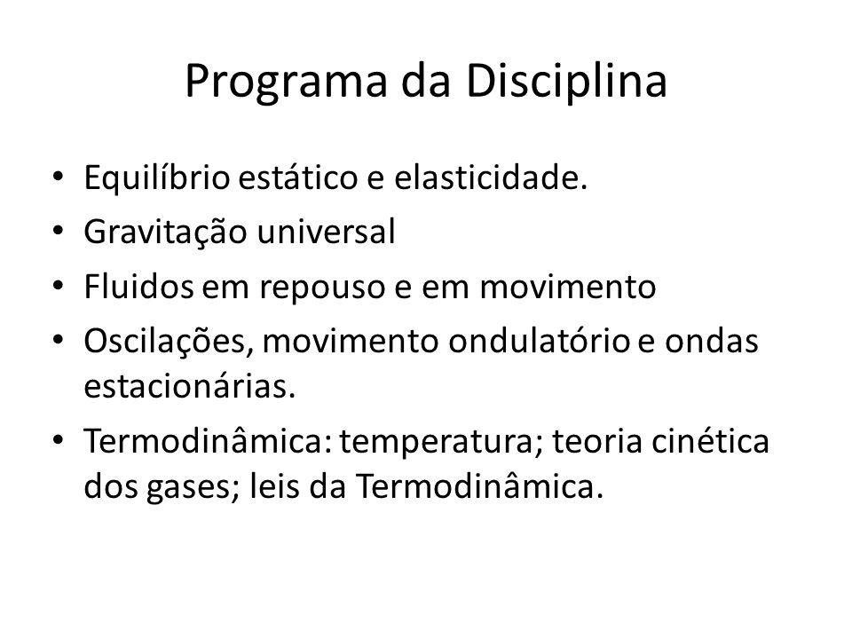 Programa da Disciplina Equilíbrio estático e elasticidade.