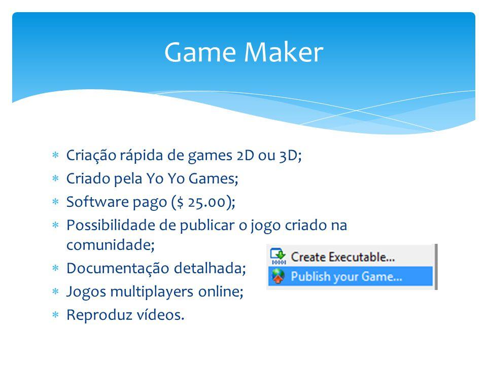 O Game Maker; Objetos; Fases; Como criar jogos; Jogos Criados: Pong; Shooter. Agenda