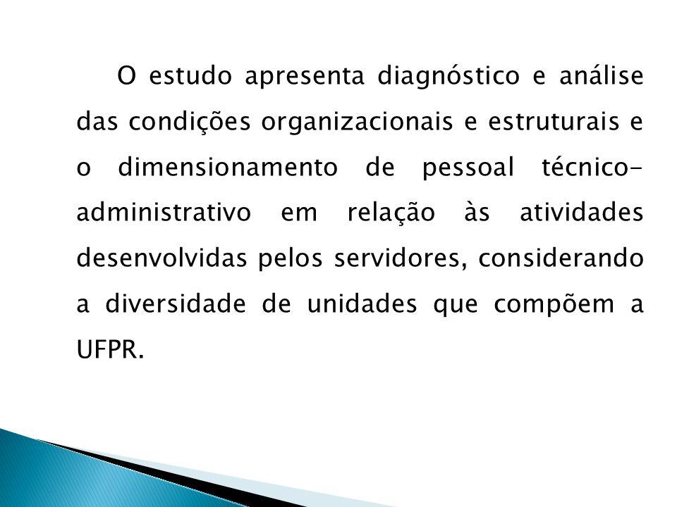 O estudo apresenta diagnóstico e análise das condições organizacionais e estruturais e o dimensionamento de pessoal técnico- administrativo em relação às atividades desenvolvidas pelos servidores, considerando a diversidade de unidades que compõem a UFPR.