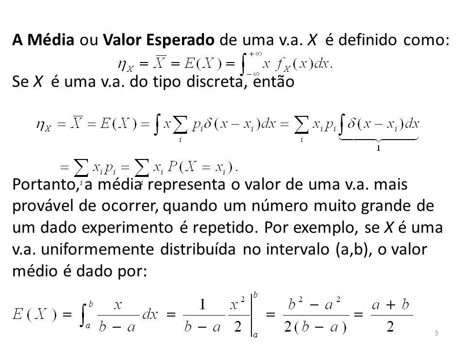 3 A Média ou Valor Esperado de uma v.a. X é definido como: Se X é uma v.a. do tipo discreta, então Portanto, a média representa o valor de uma v.a. ma