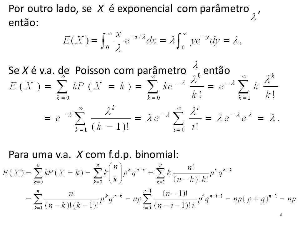 4 Por outro lado, se X é exponencial com parâmetro, então: Se X é v.a. de Poisson com parâmetro, então Para uma v.a. X com f.d.p. binomial: