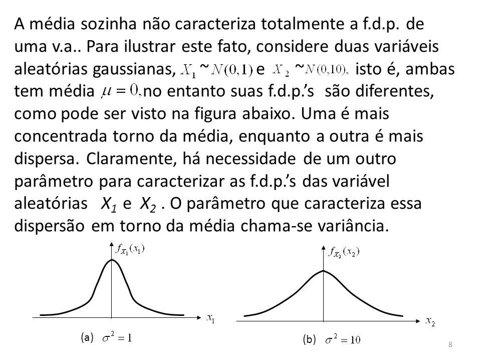 8 A média sozinha não caracteriza totalmente a f.d.p. de uma v.a.. Para ilustrar este fato, considere duas variáveis aleatórias gaussianas, ~ e ~ isto
