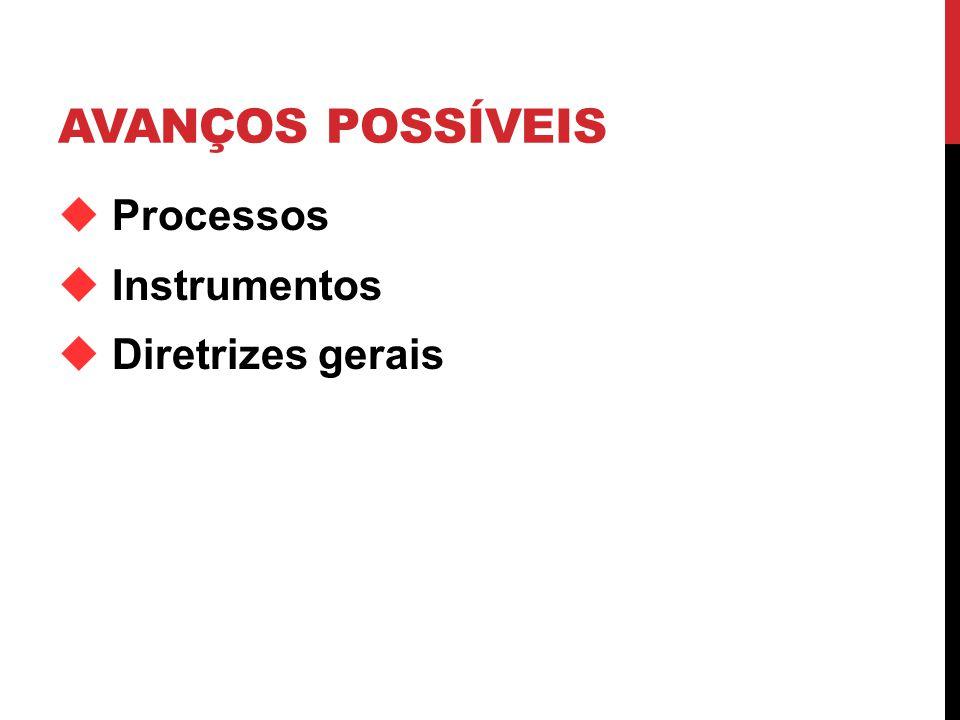 AVANÇOS POSSÍVEIS Processos Instrumentos Diretrizes gerais