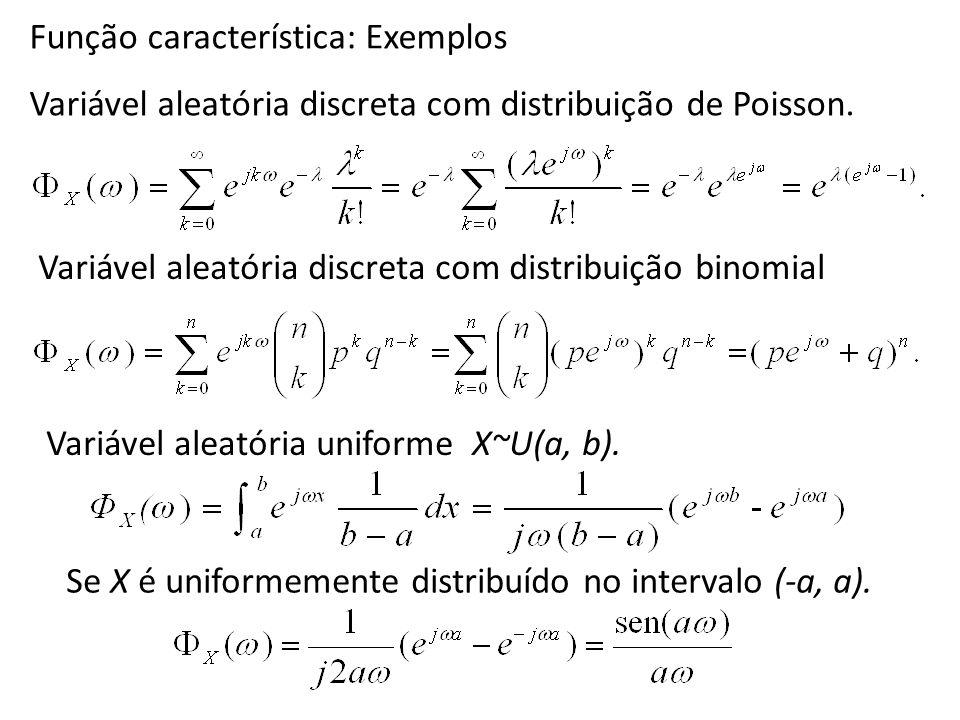 Função característica: Exemplos Variável aleatória discreta com distribuição de Poisson. Variável aleatória discreta com distribuição binomial Variáve