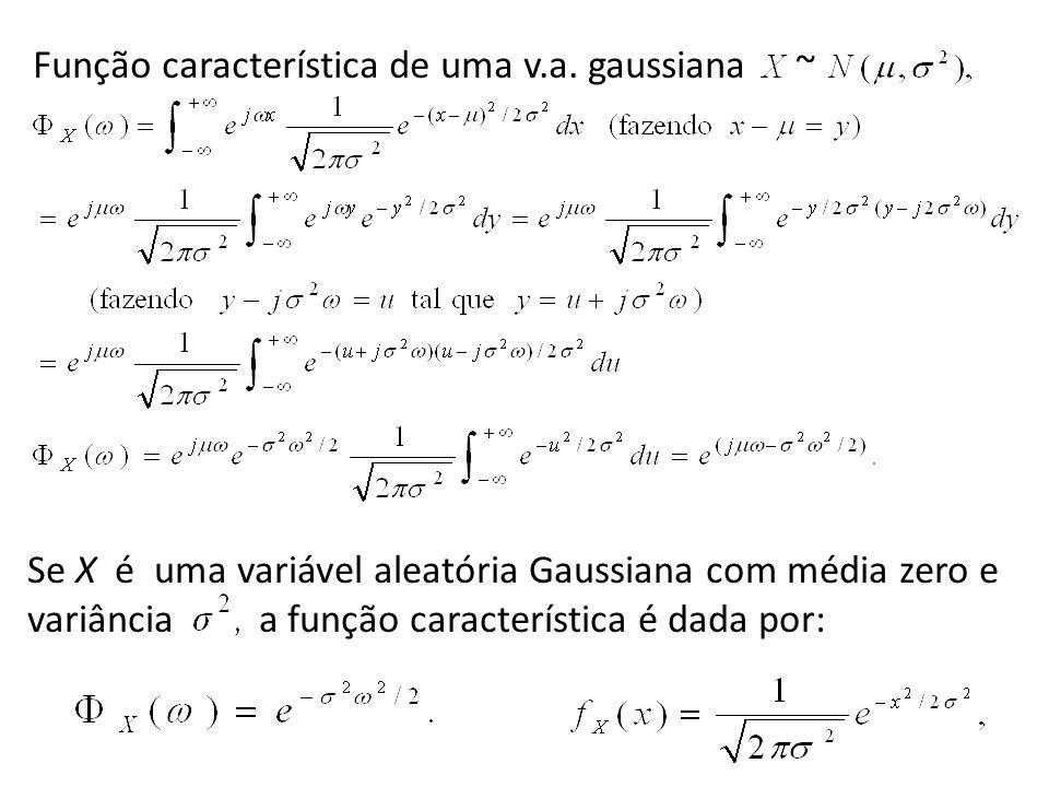 Se X é uma variável aleatória Gaussiana com média zero e variância a função característica é dada por: Função característica de uma v.a. gaussiana ~