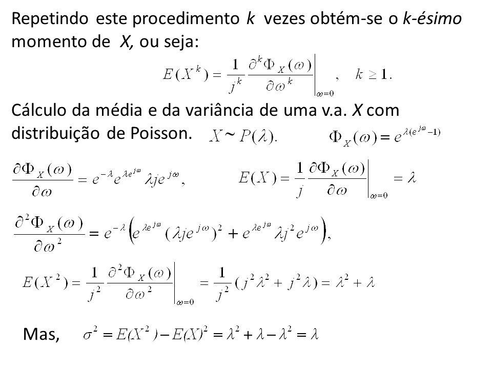 Repetindo este procedimento k vezes obtém-se o k-ésimo momento de X, ou seja: Cálculo da média e da variância de uma v.a. X com distribuição de Poisso