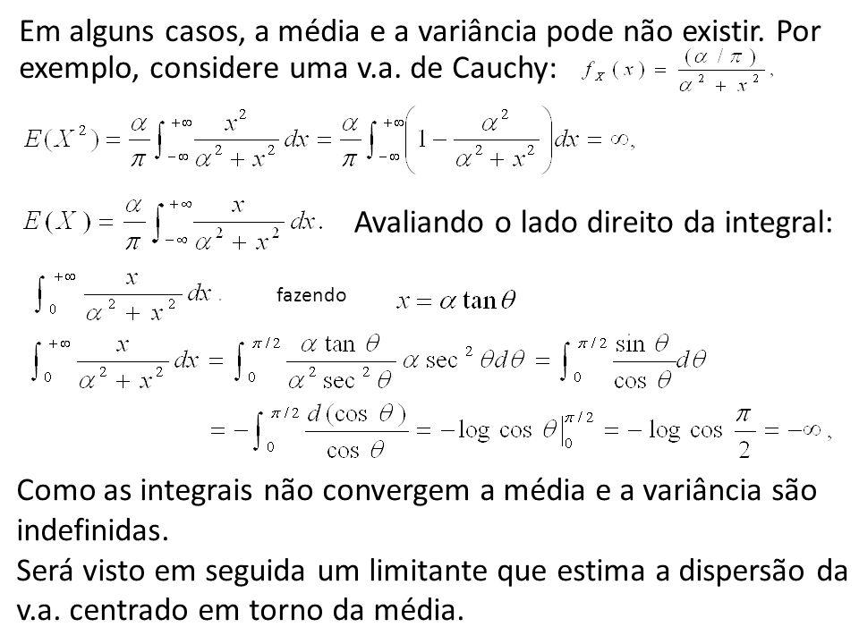 Em alguns casos, a média e a variância pode não existir. Por exemplo, considere uma v.a. de Cauchy: Avaliando o lado direito da integral: fazendo Como