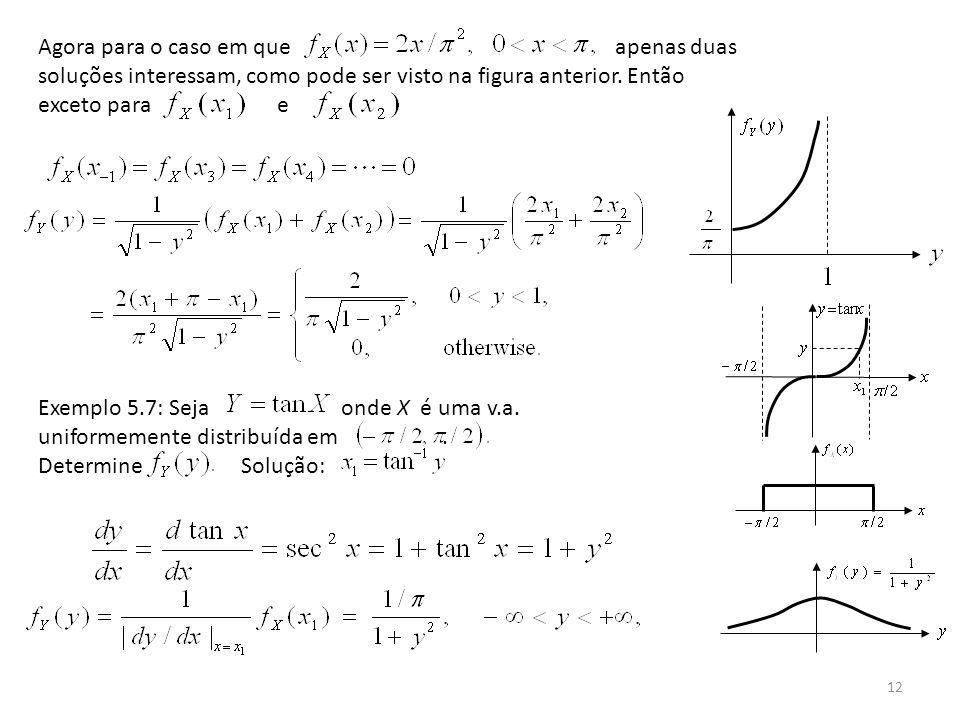 12 Agora para o caso em que apenas duas soluções interessam, como pode ser visto na figura anterior. Então exceto para e Exemplo 5.7: Seja onde X é um