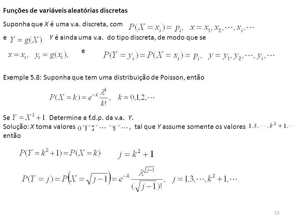 13 Funções de variáveis aleatórias discretas Suponha que X é uma v.a. discreta, com e Y é ainda uma v.a. do tipo discreta, de modo que se e Exemple 5.