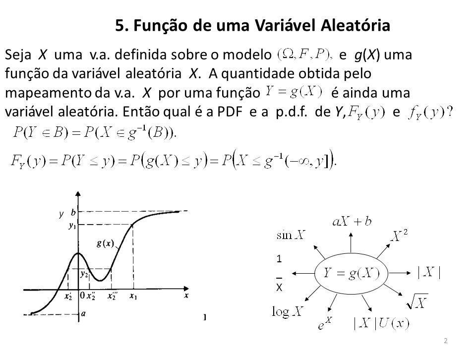 2 5. Função de uma Variável Aleatória Seja X uma v.a. definida sobre o modelo e g(X) uma função da variável aleatória X. A quantidade obtida pelo mape