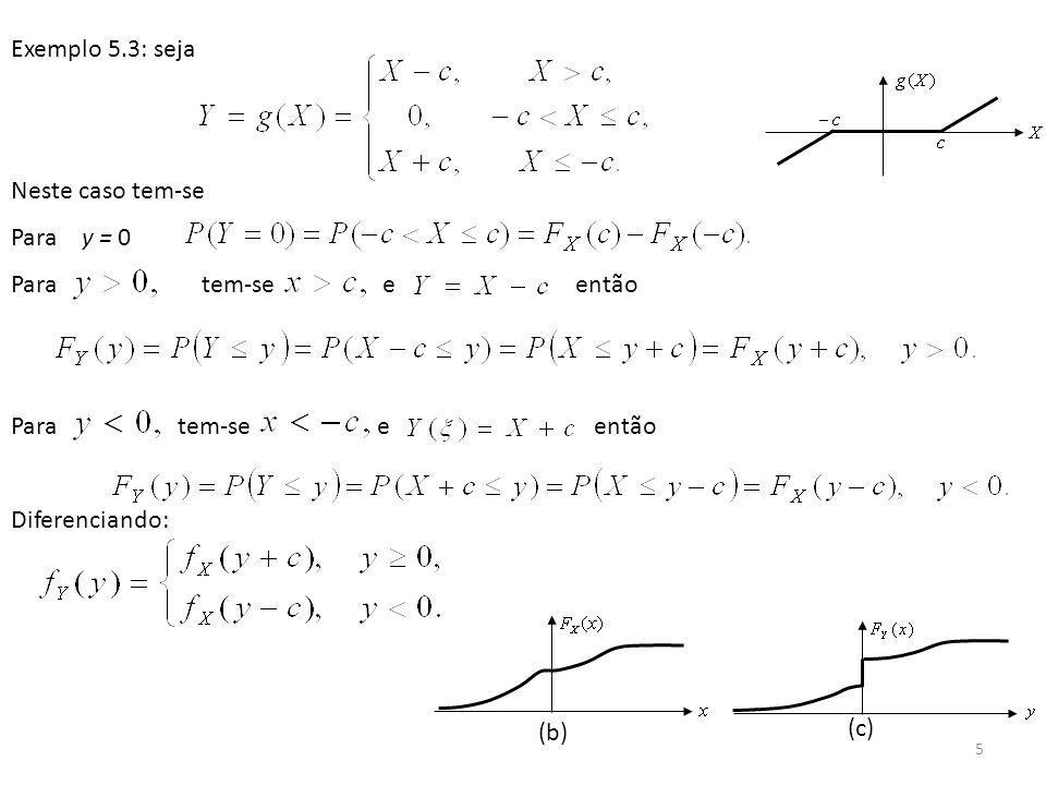 6 Exemplo 5.4: Retificador de meia onda Para y = 0, Se então Assim Diferenciando: Procedimento geral: Dado esboça-se o gráfico de y=g(x) e determina-se os intervalos de variação de y, por exemplo Calcula-se então a FDP e a f.d.p.