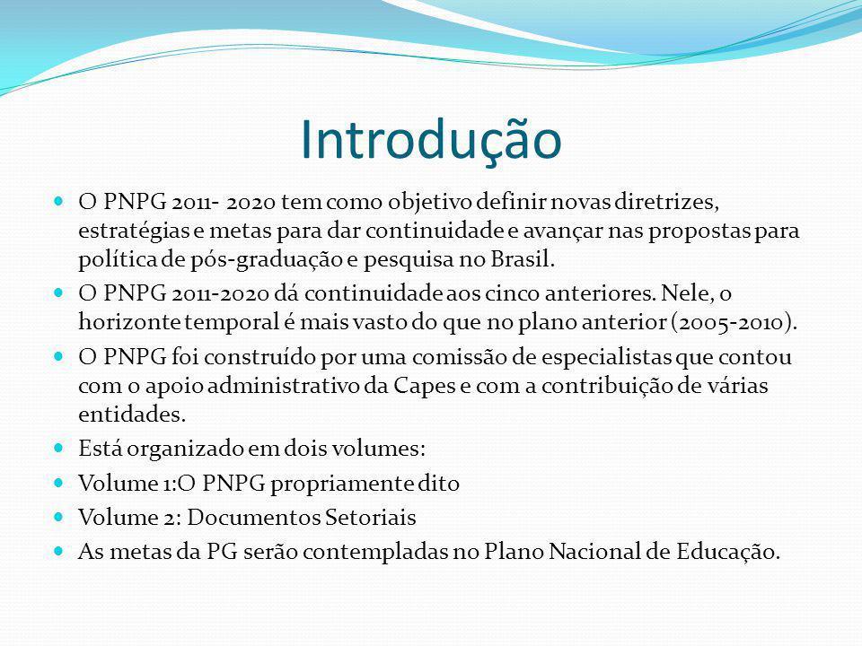 Introdução O PNPG 2011- 2020 tem como objetivo definir novas diretrizes, estratégias e metas para dar continuidade e avançar nas propostas para políti