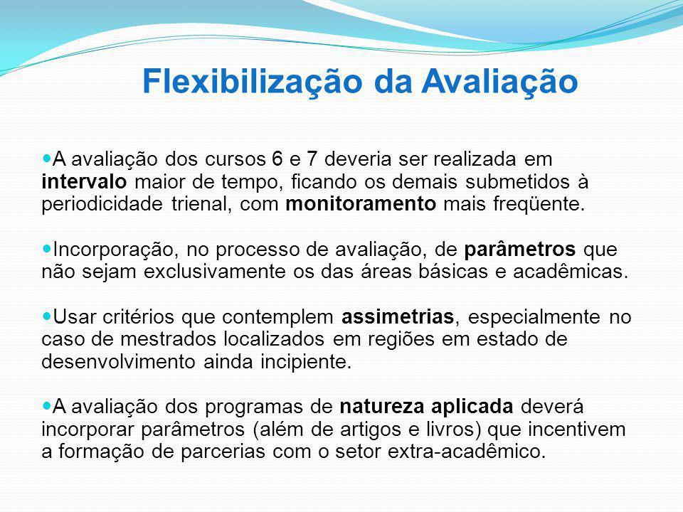 Flexibilização da Avaliação A avaliação dos cursos 6 e 7 deveria ser realizada em intervalo maior de tempo, ficando os demais submetidos à periodicida