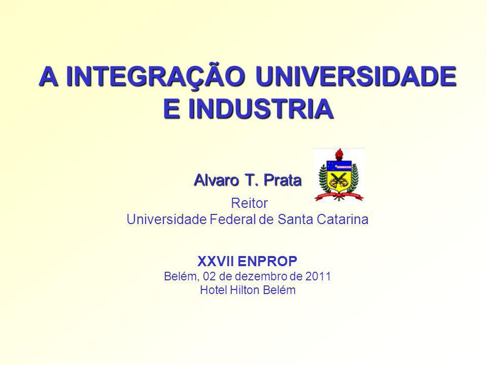A INTEGRAÇÃO UNIVERSIDADE E INDUSTRIA Alvaro T. Prata A INTEGRAÇÃO UNIVERSIDADE E INDUSTRIA Alvaro T. Prata Reitor Universidade Federal de Santa Catar