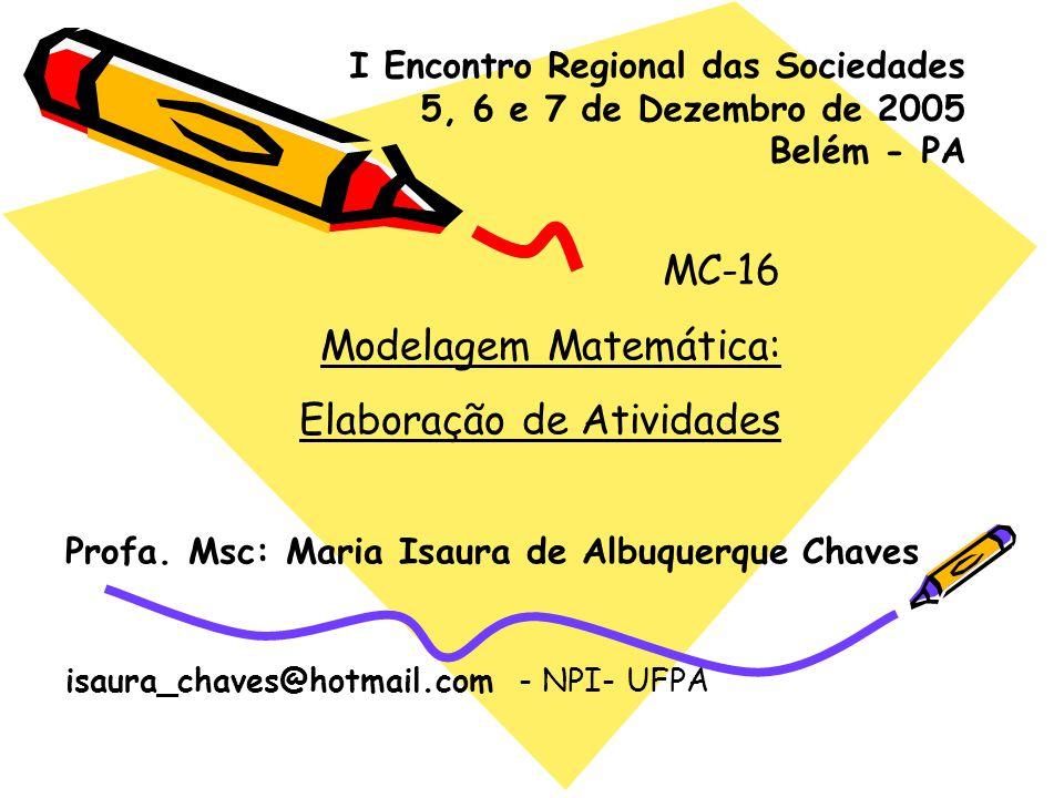 MC-16 Modelagem Matemática: Elaboração de Atividades Profa. Msc: Maria Isaura de Albuquerque Chaves isaura_chaves@hotmail.com - NPI- UFPA I Encontro R
