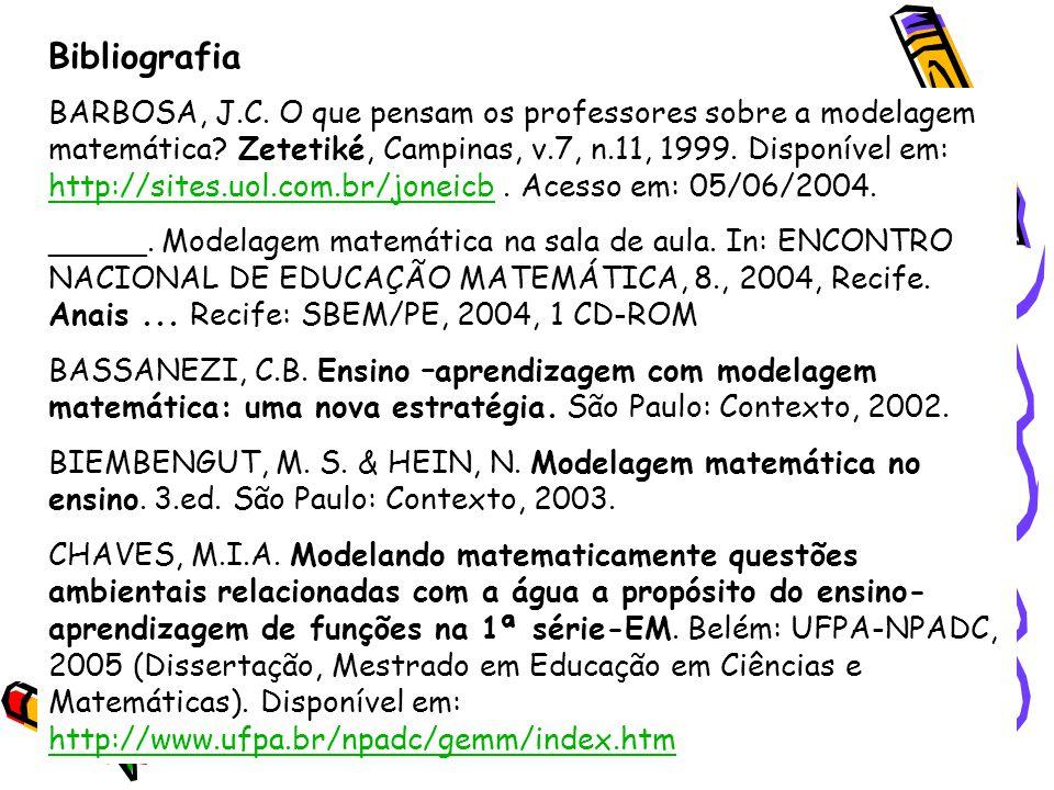 Bibliografia BARBOSA, J.C. O que pensam os professores sobre a modelagem matemática? Zetetiké, Campinas, v.7, n.11, 1999. Disponível em: http://sites.