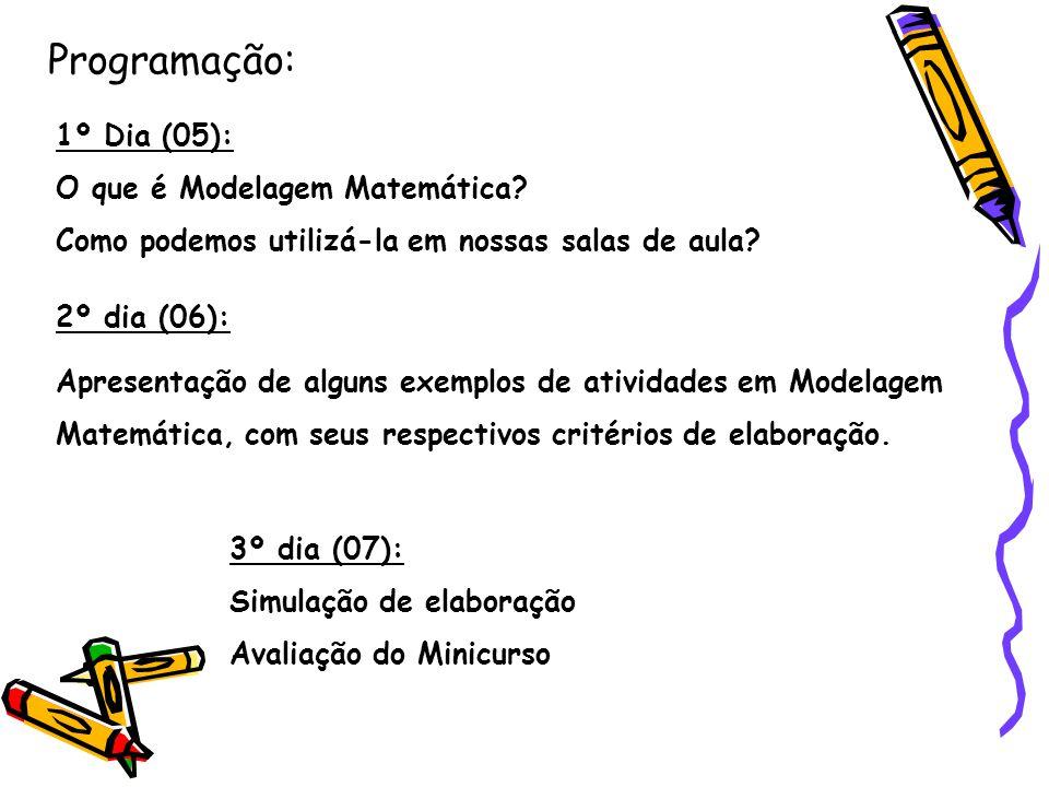 Programação: 1º Dia (05): O que é Modelagem Matemática? Como podemos utilizá-la em nossas salas de aula? 2º dia (06): Apresentação de alguns exemplos