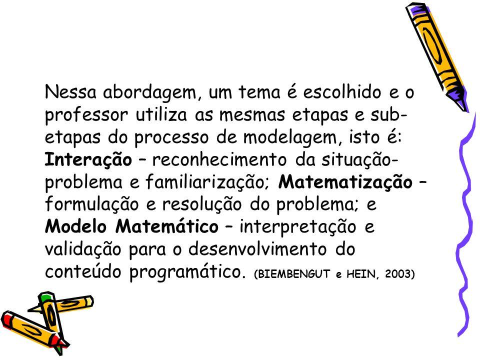 Nessa abordagem, um tema é escolhido e o professor utiliza as mesmas etapas e sub- etapas do processo de modelagem, isto é: Interação – reconhecimento da situação- problema e familiarização; Matematização – formulação e resolução do problema; e Modelo Matemático – interpretação e validação para o desenvolvimento do conteúdo programático.