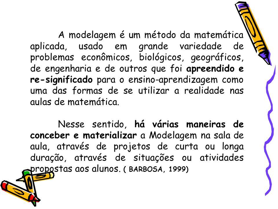 Barbosa (2003), concebe Modelagem como um ambiente de aprendizagem no qual os alunos são convidados a problematizar e investigar, por meio da matemática, situações com referência na realidade.