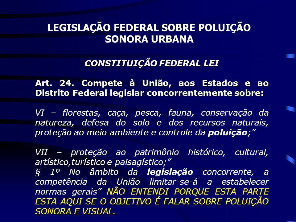 LEGISLAÇÃO FEDERAL SOBRE POLUIÇÃO SONORA URBANA CONSTITUIÇÃO FEDERAL LEI Art. 24. Compete à União, aos Estados e ao Distrito Federal legislar concorre