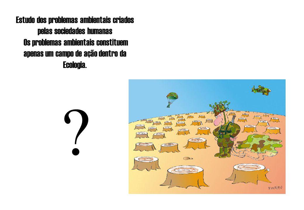 Estudo dos problemas ambientais criados pelas sociedades humanas Os problemas ambientais constituem apenas um campo de ação dentro da Ecologia. ?