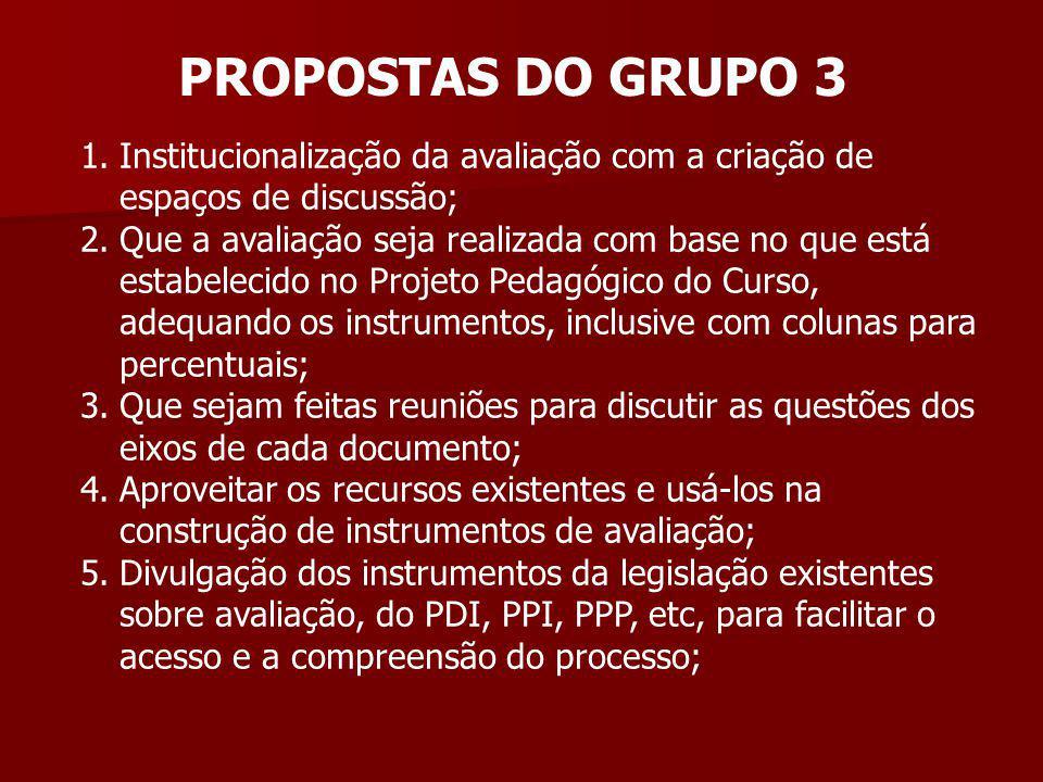 PROPOSTAS DO GRUPO 3 1.Institucionalização da avaliação com a criação de espaços de discussão; 2.Que a avaliação seja realizada com base no que está e
