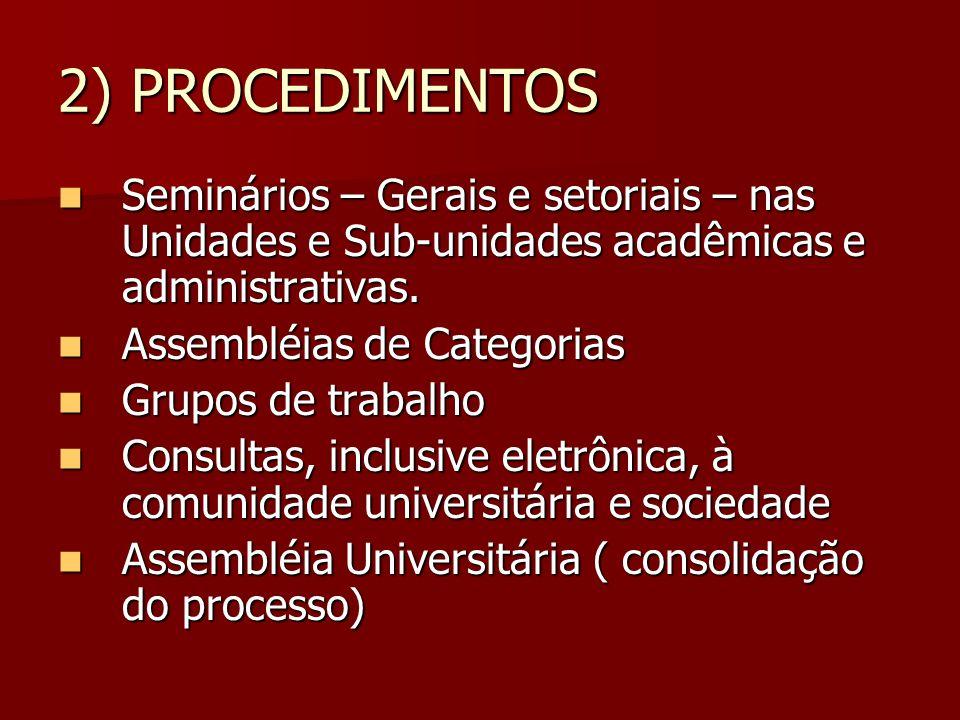 2) PROCEDIMENTOS Seminários – Gerais e setoriais – nas Unidades e Sub-unidades acadêmicas e administrativas.