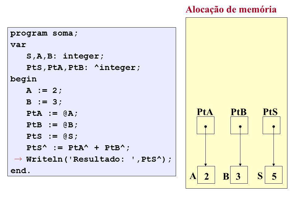 program soma; var S,A,B: integer; PtS,PtA,PtB: ^integer; begin A := 2; B := 3; PtA := @A; PtB := @B; PtS := @S; PtS^ := PtA^ + PtB^; Writeln( Resultado: ,PtS^); end.