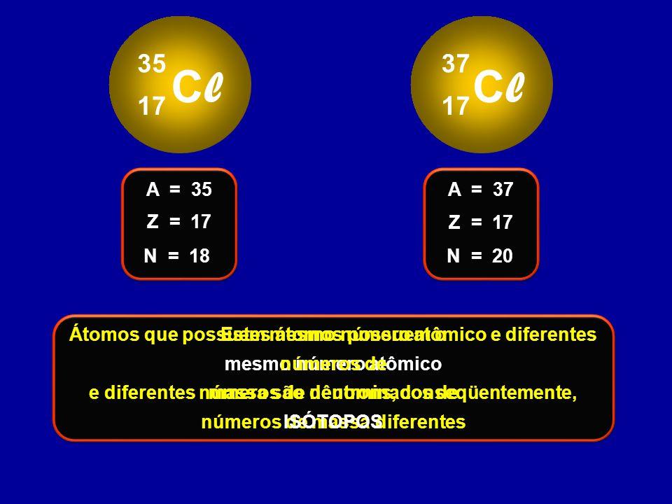 ClCl 35 17 ClCl 37 17 Z = 17 A = 35 N = 18 Z = 17 A = 37 N = 20 Estes átomos possuem o mesmo número atômico e diferentes números de nêutrons, conseqüe