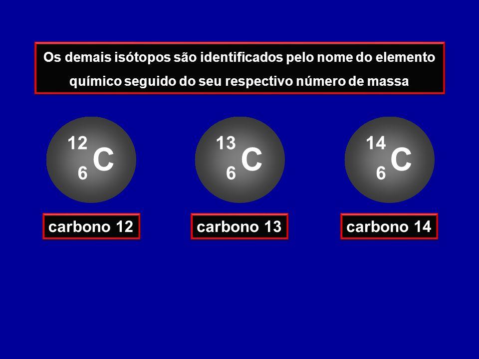 Os demais isótopos são identificados pelo nome do elemento químico seguido do seu respectivo número de massa C 12 6 carbono 12 C 13 6 carbono 13 C 14