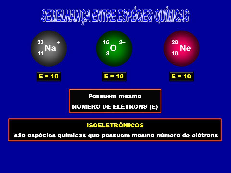 Na 11 23+ E = 10 O 8 162– E = 10 Ne 10 20 E = 10 Possuem mesmo NÚMERO DE ELÉTRONS (E) Possuem mesmo NÚMERO DE ELÉTRONS (E) ISOELETRÔNICOS são espécies