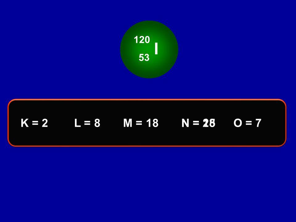 I 120 53 K = 2L = 8M = 18O = 7N = 25N = 18