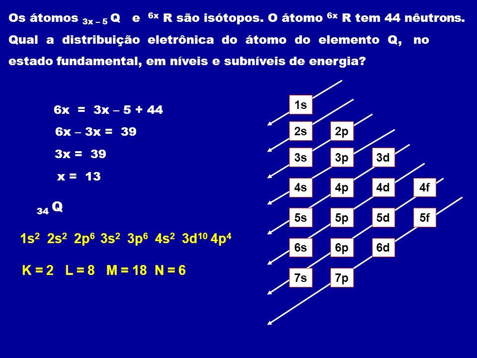Os átomos 3x – 5 Q e 6x R são isótopos. O átomo 6x R tem 44 nêutrons. Qual a distribuição eletrônica do átomo do elemento Q, no estado fundamental, em