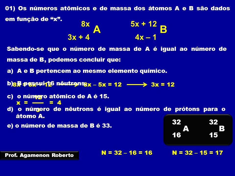 02) As espécies químicas 3x A B 3x – 2 x + 5 2x – 10 Representam átomos com igual número de prótons.