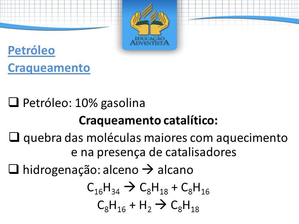 Petróleo Craqueamento Petróleo: 10% gasolina Craqueamento catalítico: quebra das moléculas maiores com aquecimento e na presença de catalisadores hidr
