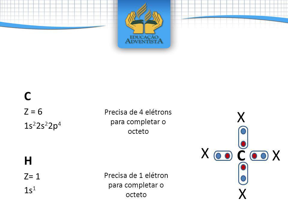 C Z = 6 1s 2 2s 2 2p 4 H Z= 1 1s 1 Precisa de 4 elétrons para completar o octeto Precisa de 1 elétron para completar o octeto C X X X X c c c c