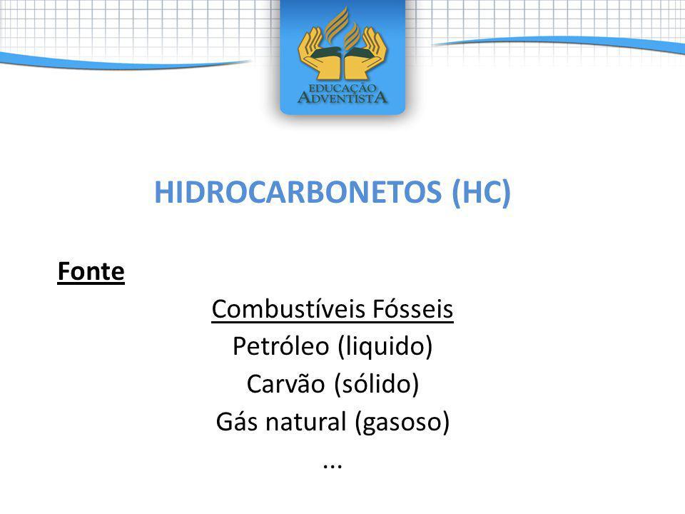 HIDROCARBONETOS (HC) Fonte Combustíveis Fósseis Petróleo (liquido) Carvão (sólido) Gás natural (gasoso)...