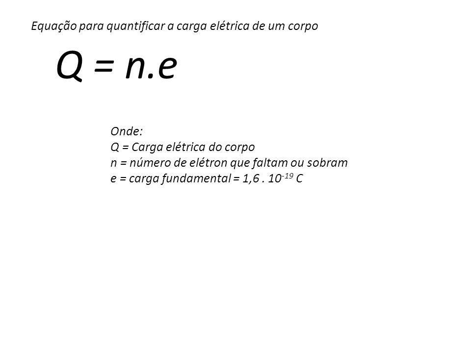 Q = n.e Equação para quantificar a carga elétrica de um corpo Onde: Q = Carga elétrica do corpo n = número de elétron que faltam ou sobram e = carga fundamental = 1,6.