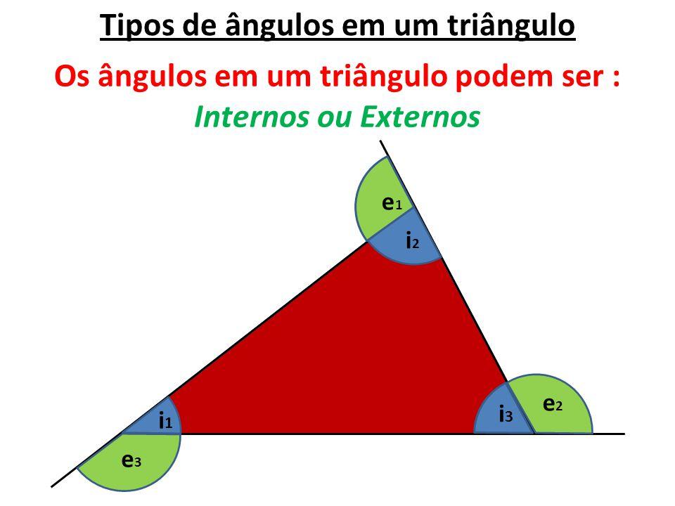Tipos de ângulos em um triângulo Os ângulos em um triângulo podem ser : Internos ou Externos i1i1 i3i3 i2i2 e1e1 e2e2 e3e3