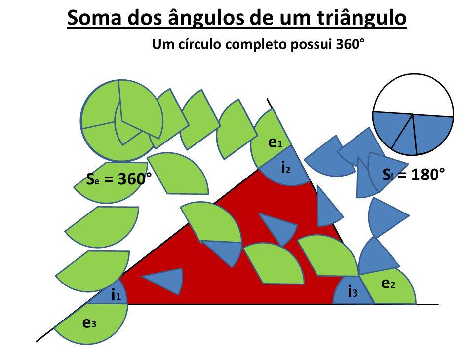 Soma dos ângulos de um triângulo e1e1 Um círculo completo possui 360° e3e3 i2i2 e2e2 i1i1 i3i3 S e = 360° S i = 180°